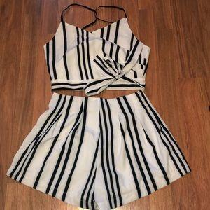 2 piece striped zaful set